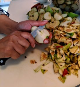 Then she cuts the halves in quarters and cores each piece, removing any seeds she sees, and leaves the skins on them. Cooking the apples with their skins saves time and provides a nice color to the sauce.