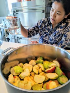 Next, for every 12-apples Sanu also adds about a cup of water before cooking.