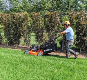 For even tighter areas, we have Kubota's WGC6-21 push mower. The 21-inch mowers provide sharp cutting and easy bagging. And the controls are built to be ergonomic in design, making it comfortable to use throughout the day. Phurba uses this push model to mow around this hedge by my pool. It can also get around the other garden beds. https://bit.ly/2kI3Imv