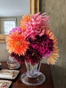 I love this one in my small dining room - orange, and pink, and dark burgundy. Dahlias come in almost every color except true blue.