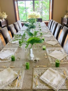 "On this day, I hosted a garden tour and brunch for the Garden Club of America - about 40-guests were in attendance. The tour was part of a week-long series called ""Gardens by the Sea"" Here is my long dining room table getting set up for brunch."