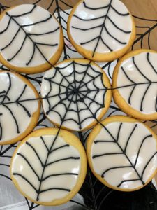 "For Halloween, use my new book to make lots and lots of Halloween Spiderweb Cookies. These are so much fun to make with the kids. ""Cookie Perfection"" explains just how to make these iced webs just right."