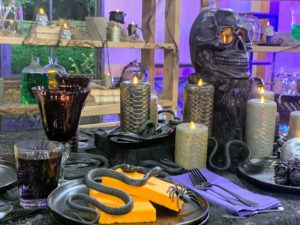 These are my new Flameless Snakeskin Pillar Candles. They can be used for Halloween or for a more elegant dinner table setting. They come in gray and black.