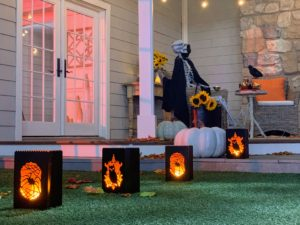 I love these Indoor/Outdoor Wildfire Light Halloween Luminaries. These are made of durable metal and won't blow away or collapse from rain or wind - plus, the candle is flameless, so it is completely safe.
