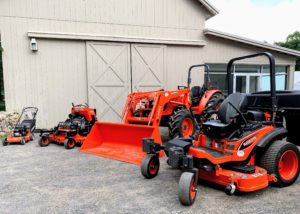 Here are all the new Kubota machines in their signature orange, ready to use. All my large farming vehicles and tools are stored in this big Equipment Barn.