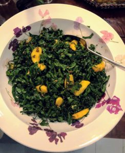 This kale salad was made using greens from Christopher's garden. Christopher also made the delicious dressing to go with it.