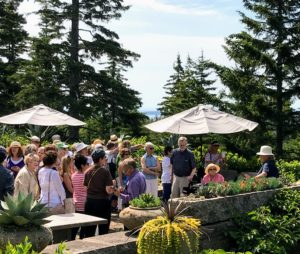 On this day, I hosted a gathering for the Bar Harbor Garden Club in celebration of its 85th Anniversary. I gave 60-guests a tour of Skylands and then we all enjoyed refreshments on my terrace.