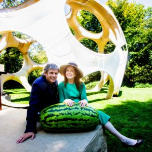 LongHouse Executive Director Matko Tomicic and Honoree Amy Goldman Fowler, gardener and heirloom seed saving advocate posed with her watermelon for this quick snapshot. (Photo by ©Philippe Cheng)