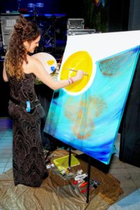 Artist Catalina Garretón did some live painting during the event. Catalina is a contemporary abstract artist and designer based in Portland, Oregon. (Photo by Astrid Stawiarz/Getty Images)