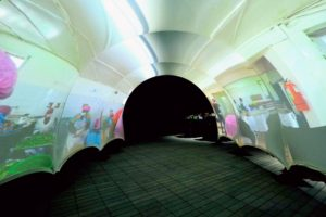 This is the VR Tunnel where guests could walk through to experience some of the work done by the World Central Kitchen. The World Central Kitchen is a not-for-profit non-governmental organization devoted to providing meals in the wake of natural and manmade disasters. Jose founded the organization in 2010. Its main method is to work as first responders and then to collaborate and galvanize solutions with local chefs to solve the problem of hunger, immediately following a disaster. (Photo by Dimitrios Kambouris/Getty Images)