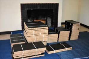 Once the room was ready, all the pieces were delivered in one day. I wanted all the shelving to be black to match the trim.