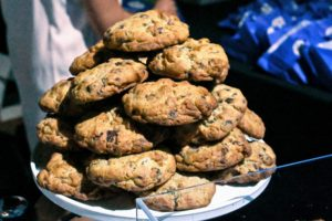 Sweets were also passed around including these chocolate chip walnut cookies from Levain Bakery right here in New York City. (Photo by Astrid Stawiarz/Getty Images)