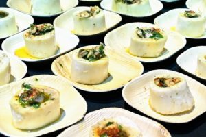 Also served - bone marrow with white anchovy paste and salsa verde - a big favorite of the crowd. (Photo by Astrid Stawiarz/Getty Images)