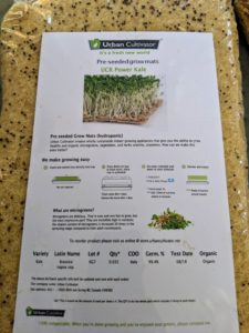 Urban Cultivator provides several options for growing seeds. For this option, we chose to use these pre-seeded grow mats filled with mustard seeds.