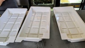 The Urban Cultivator trays are made with indentations for adequate and equal water flow.