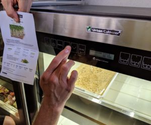 Ryan places the tray into the Urban Cultivator and follows the specific seed information to set the pre-programmed growing conditions.
