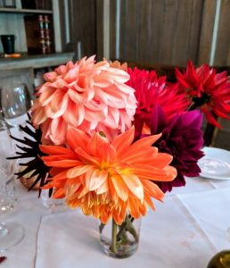 All the dahlias were placed in clear glasses - some in small bunches of varying colors and forms. I have a garden just for dahlias at my farm - many flowers are still blooming.