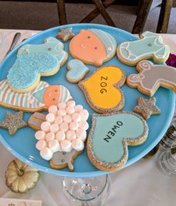 The cookies were all arranged on these bright colored cake plates from One Kings Lane. https://www.onekingslane.com/