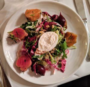 The first course included this delicious market salad with greens, beets and burrata cheese.