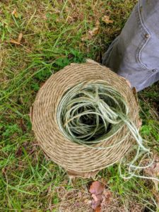 We use natural jute twine for many of our projects around the farm. Jute twine is a vegetable fiber that can be spun into coarse, strong threads. It is 100-percent biodegradable and pollution-free.