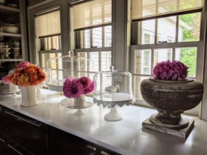 Once they're inside, they're made into lovely arrangements and displayed in my servery, kitchen, dining room and foyer - they add cheer to any gray and stormy day.