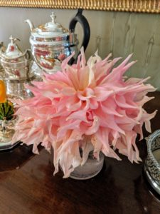 Dahlias range from small to dinner-plate size like this one.