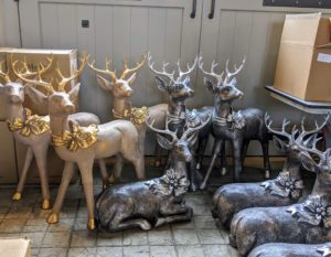Everything was removed from the boxes down at my stable. These are my Indoor/Outdoor Oversized Deer in silver and gold.