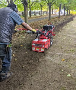 Pete starts tilling the beds on one side of the garden and goes up and down the bed, overlapping as he goes. The machine is set to till the soil at about six to eight inches deep.
