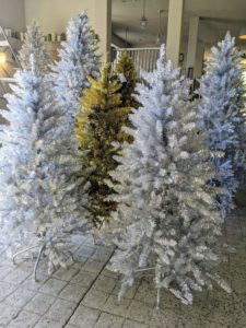 All the tinsel trees were assembled and fluffed, so the branches look as natural as possible. These Pre-Lit Designer Tinsel Trees come in a variety of sizes.
