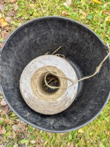 Here is a large spool of jute twine. We use jute twine for many projects around the farm.