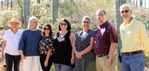 I could have stayed much longer looking at all the beautiful specimens. Thanks to the Desert Botanical staff for a fun and informative tour. Here I am with the program director of volunteer services Nancy White, director of marketing communications Dana Terrazas, director of event services Marcia Flynn, director of horticulture Tina Wilson, social event and wedding venue planner Patrick Hanson, and volunteer Tom Gatz. Go to the web site for more information. https://dbg.org/