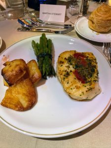 "The dinner's entree included Chilean sea bass alla Carlina, rosemary ""smashed"" potatoes and a bundle of asparagus with leeks."