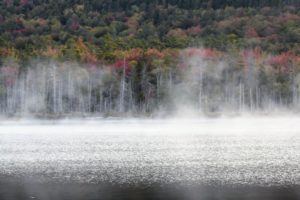 This is Upper Hadlock Pond located in Northeast Harbor. It is a 35-acre pond with a depth of 37-feet. On this morning, the weather was a bit cool, so mist can be seen over the water. Mist often forms when warmer air over the water suddenly encounters the cooler surface of land.