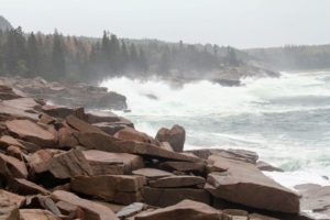 Here's another view with the strong waves hitting the rocks.