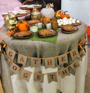 This table is filled with lots of great treats and decorations for autumn. If you're hosting a fall gathering, decorate your table with my banner, squirrel, acorn, White Ceramic Pumpkin, and Pumpkin Appetizer Plates - your guests will love this harvest theme.