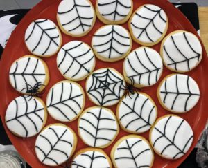 The cookies look great arranged on a large platter showing the spiderweb design.