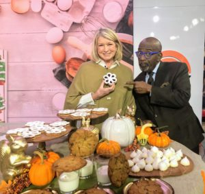 Here I am with Al Roker. He loved my Linzer Flower Cookies. These flavorful cookies combine the taste of buttery hazelnuts and fruity jams and then dusted with Confectioner's sugar.