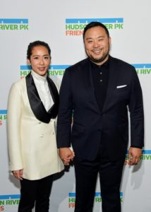 Chef and Honoree, David Chang, stops for this photo with his wife, Grace. (Photo by Jamie McCarthy/Getty Images)