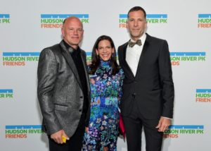 In this photo - Board Chair of Hudson River Park Friends, Michael Novogratz, and his wife Sukey Novogratz, and Hudson River Park Friends Vice-Chair, Scott Lawin. (Photo by Jamie McCarthy/Getty Images)