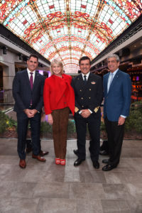 Here I am with Ken Muskat, EVP and Chief Operating Officer for MSC Cruises USA, Captain Stefano Battinelli, and Rick Sasso, Chairman of MSC Cruises USA. (Photo by Jamie McCarthy/Getty Images)