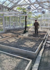 In the vegetable greenhouse, Ryan fertilizes all the beds in preparation for winter planting. Soon, we will plant our first indoor crops for the season, so I always have fresh homegrown vegetables to enjoy.