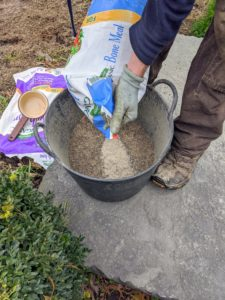 Gavin mixes the Bulb-tone and Bone Meal together in one trug bucket before sprinkling over the entire length of the garden bed.