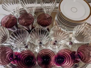Dessert glasses are placed on a tray ready to fill with sorbet. When hosting a party - get as much done beforehand as possible, so there is no rush during the party itself.