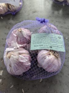 The Chesnok Red-Purple Stripe garlic is an heirloom variety. It is loved for its rich flavor as an all-purpose cooking garlic. It's also well known as a superb baking garlic.