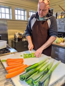 Meanwhile, Chef Pierre is busy in the Flower Room, cutting all the gorgeous vegetables from my garden - carrots, celery, leeks and so many more.