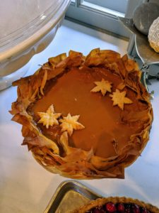 Here is one of the finished Five-Spice Pumpkin Pies. I love the modern touch to the pie crust made using the phyllo.