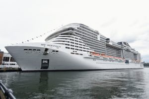 The 1036 foot 168-ton ship can accommodate about 4500 passengers in 2250 cabins. (Photo by Jamie McCarthy/Getty Images)