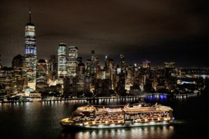 And here it is with the stunning New York City skyline behind it. (Photo courtesy MSC Cruises USA)
