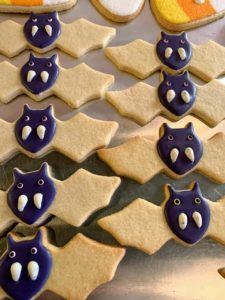 Here are some Halloween cookies in the process of getting decorated.