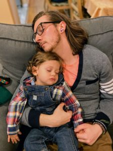 "Cathryn captured this snapshot of ""the sweetest nap before dinner with my brother, Pat, and my son, Ethan."""
